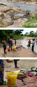 Flood damage is destructive, no matter where it happens. In Sinazongwe district, Zambia, these roads and bridges were washed out by regular rainy season flooding. Despite the mud, people still collected the water for drinking. Photos by Lynne Dulaney.