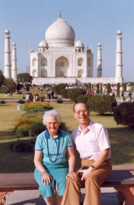 Art Jenkyns and his wife Una at the Taj Mahal during one of their trips to India.