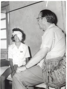 Our founder Art Jenkyns with a pediatric patient during one of his trips to India.