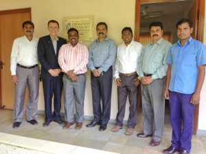 From left to right: Liyakath Ali, Assistant Manager – Finance and Administration; Brian Lee; Daniel Franklin, Assistant Director of Community Eye Health; Kashinath Bhoosnurmath, Senior Director of International Programs; Santosh Moses, Country Manager of India;  Arvind Babu, Head of Finance and Administration; and Sai Ramanna, Office Assistant and Driver outside Operation Eyesight's office in Hyderabad, India