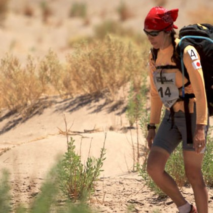 Norma races across the desert. Photo source: www.normabastidas.com