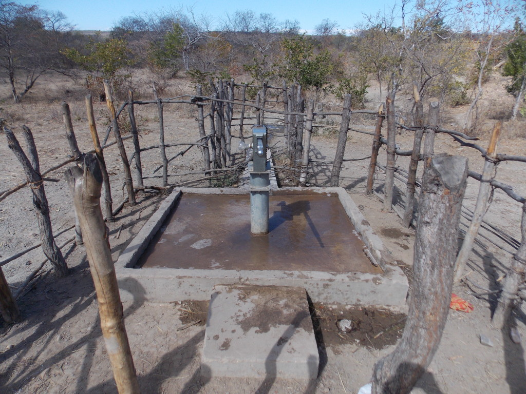 Well-maintained borehole at Tulonga village.