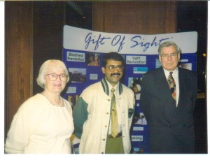 Hazel (left) and Alastair (right) at a fundraising event for Operation Eyesight in 1994.