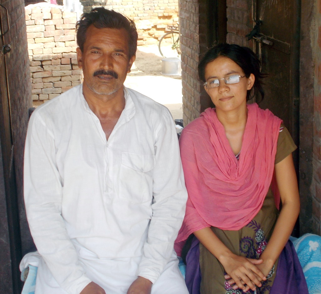 Gunjan (right) with her father Manoj (left).