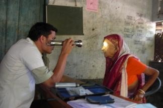A patient being screened at Totaigach. Over 385 villagers from 85 households were screened. Five blind patients received treatment, 45 patients received prescription eyeglasses, 23 patients underwent surgery and 270 people received health education.