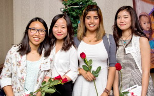 """We'd like to thank Sonya (far left), Namrata (second from the right) and Maggie (far right) for their special presentation about """"Youth for Operation Eyesight."""" We'd also like to thank Sisi (second from the left) for volunteering as our event photographer. [Photo by A. Sabir.]"""