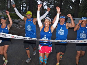 Norma crossed the finish line with a total race time of 45:44:15. From left to right: Nadia Ukrainetz, Kevin Compayre, Norma Bastidas, Rob Ohlson and Edgar Campos. [Photo by Chris Kostman/Badwater.com]