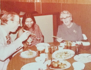 Here's another old photo of Hansi (centre) dining with the Jenkyns and Gullisons in Victoria. Art is sitting on Hansi's right and Evlyn is on Hansi's left.