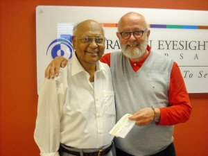 Last summer, Dr. Mathew Zachariah (left) stopped by our Calgary office to drop off a donation and chat with our executive director, Brian Foster (right). Mathew had just celebrated his 80th birthday with family and friends and, in lieu of gifts, he collected donations on our behalf. He and his wife, Sara, have been supporting Operation Eyesight since 1988. Thank you both for your generous support!