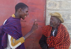 Joseph explains the importance of surgery to a trachoma patient.
