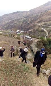 Club members trekking through the mountainous region of Udhampur. Many people live in remote locations where there are no roads, just pathways like the one you see here. [Photos by Santosh Moses.]